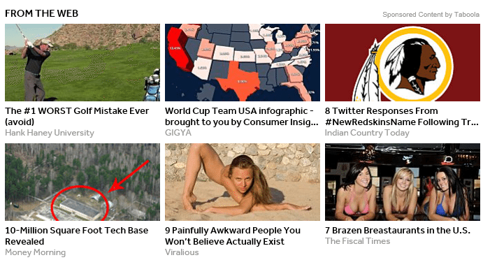 Seen these around? Examples of Click Bait ads Source: thesempost.com