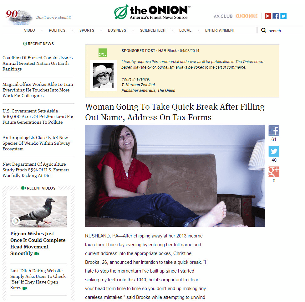 What Are Native Ads theonion
