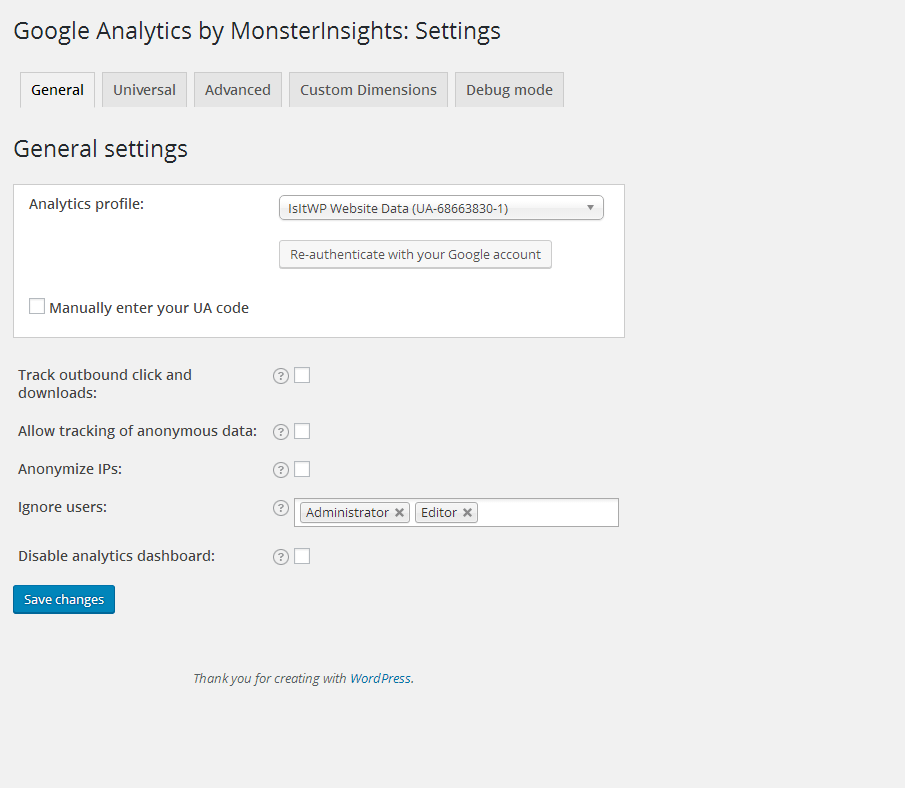 must have wordpress plugins GA setting