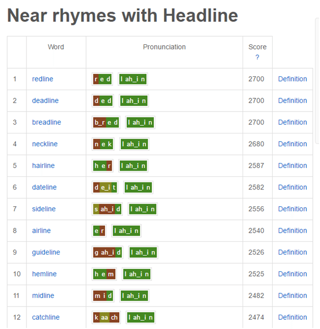 headline tools 9 rhyme