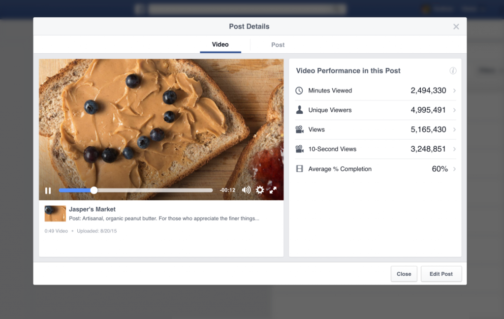 native video advertising FB vid dashboard