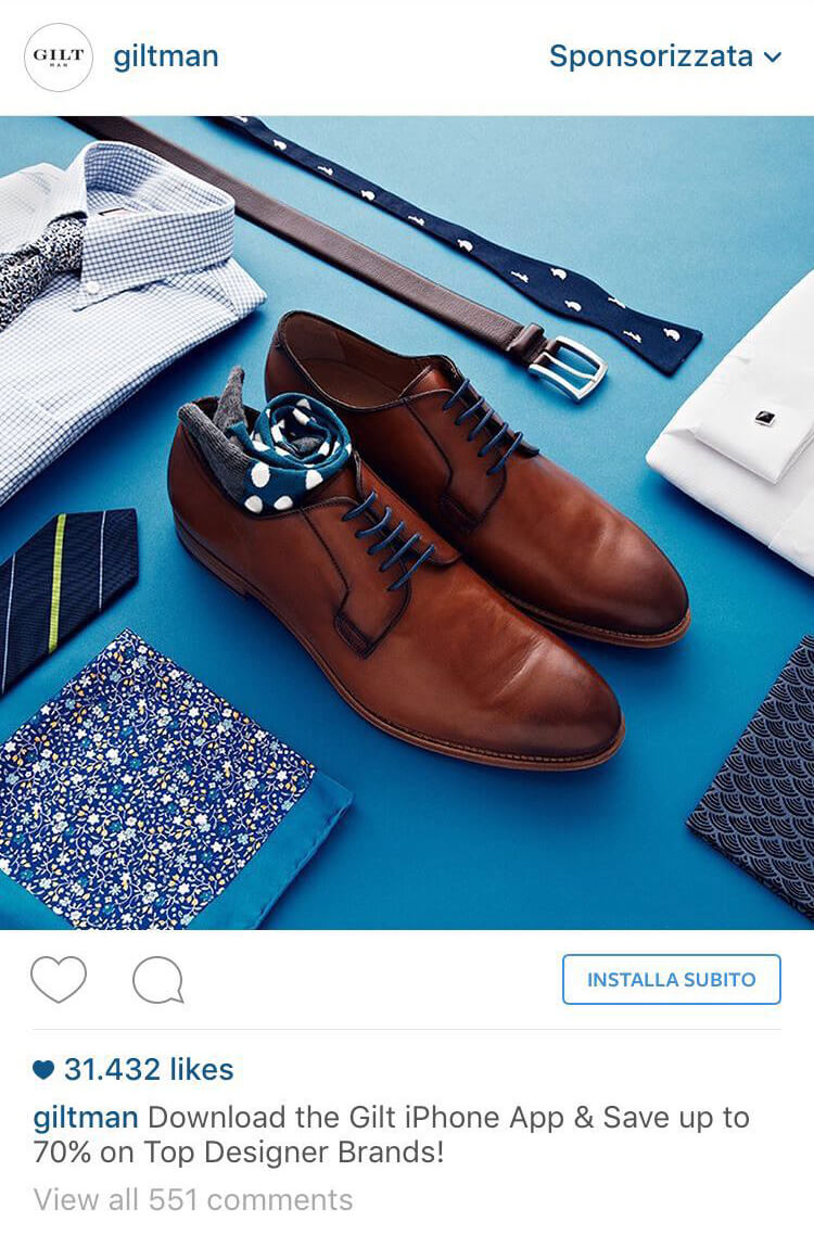 Gilt Instagram ad, ad visuals, color psychology