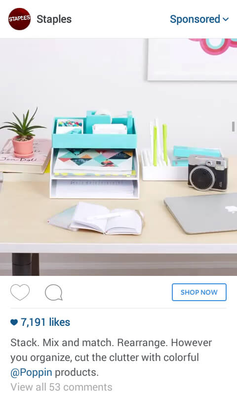 staples instagram ad, visuals in advertising