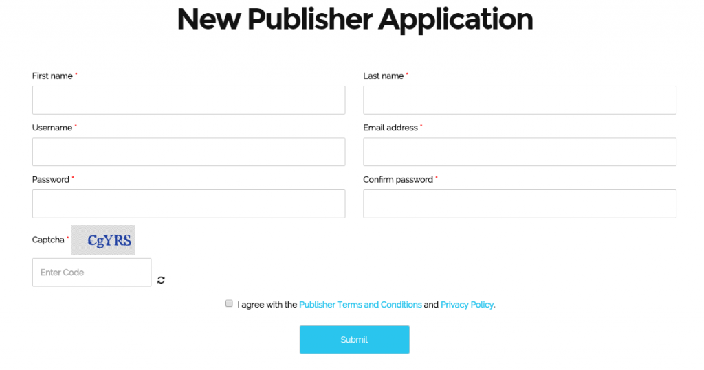 New-Publisher-Application, sign up