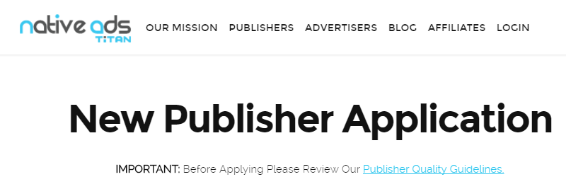 Native Ads Titan Publisher Application